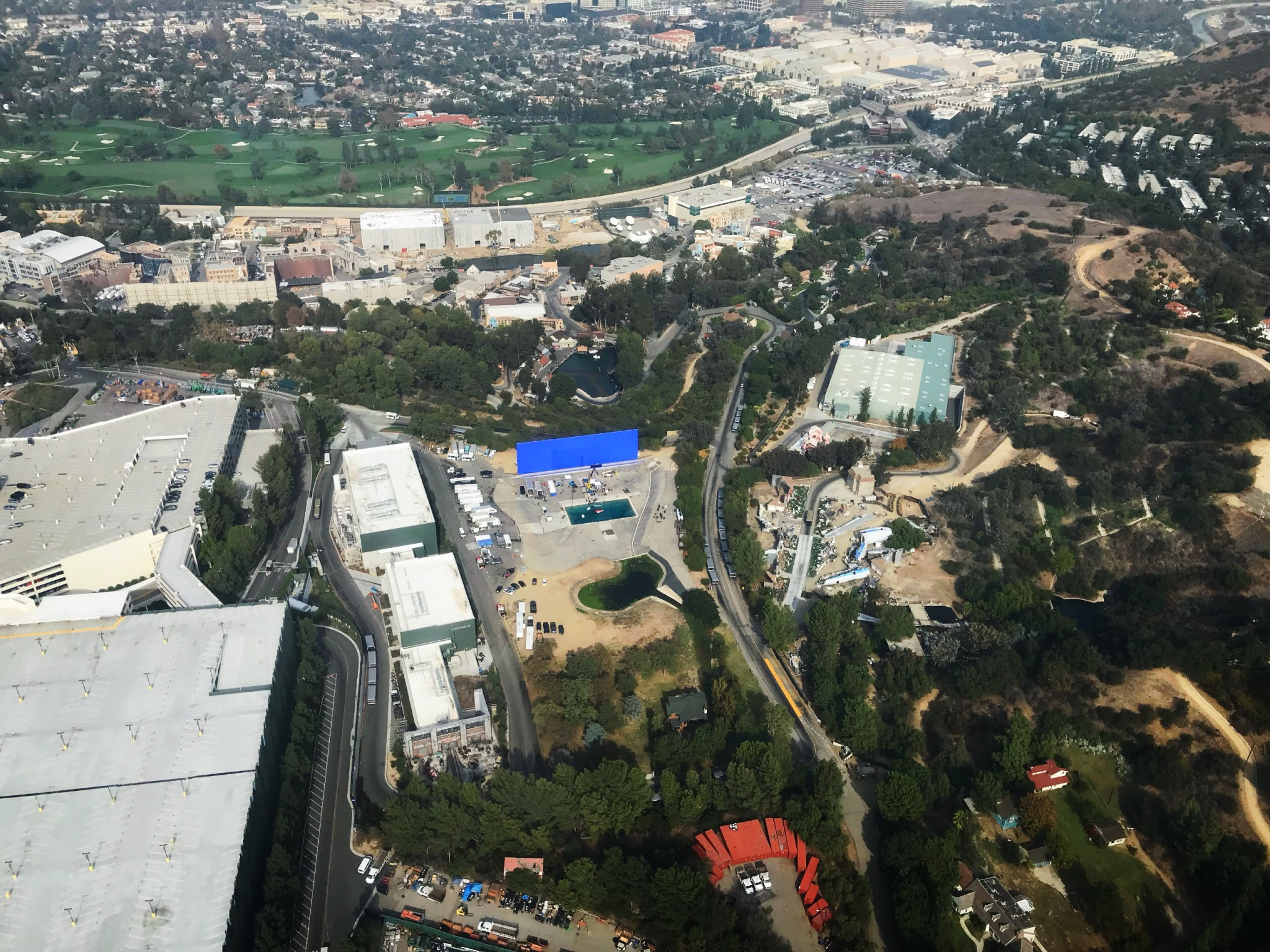 Universal Studios blue screen view from helicopter