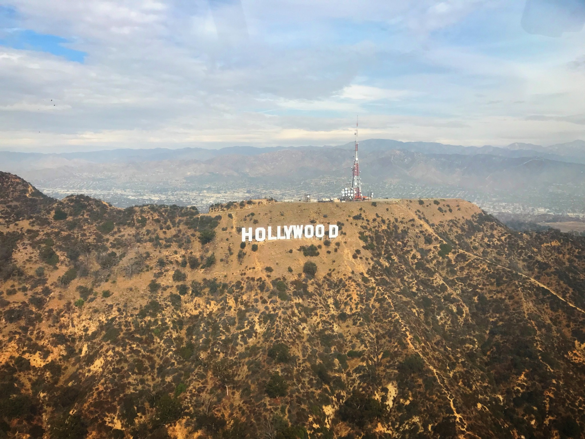 Hollywood Sign view from helicopter