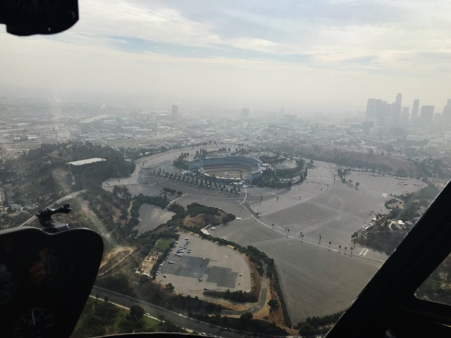 Los Angeles Dodgers Stadium view from helicopter