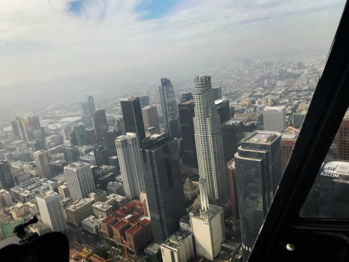 Downtown Los Angeles view from helicopter
