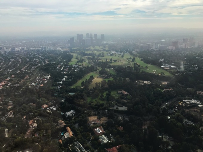 The Los Angeles Country Club and Century City view from helicopter