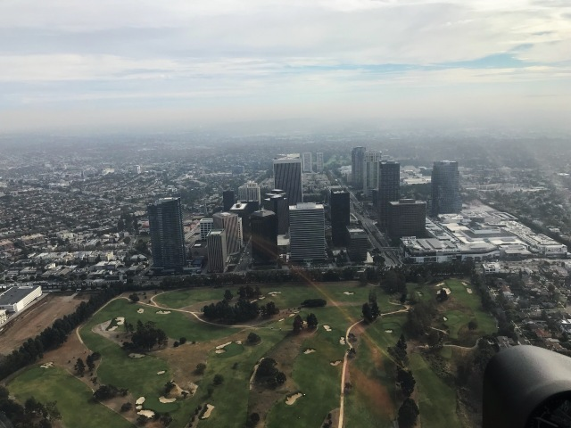 The Los Angeles Country Club and Century City view from helicopter 2
