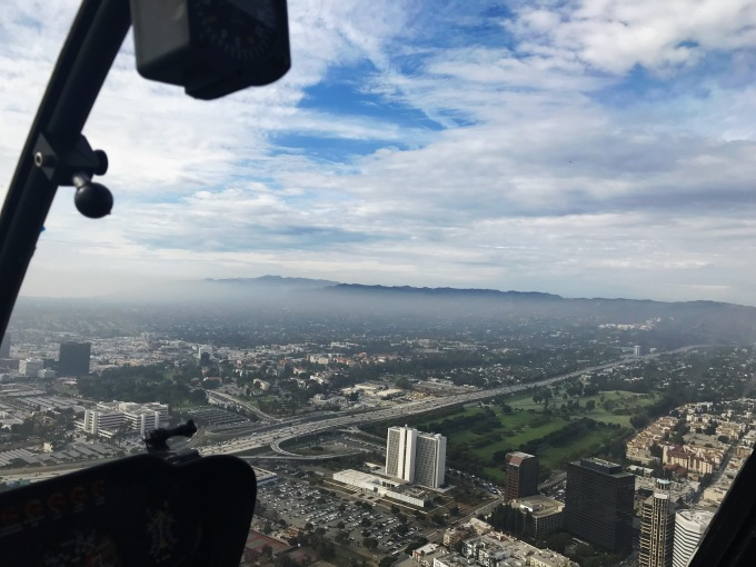 Fog in The City of Angels view from helicopter