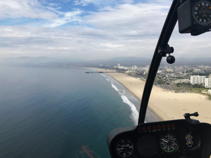 Venice Beach and Santa Monica Pier view from helicopter