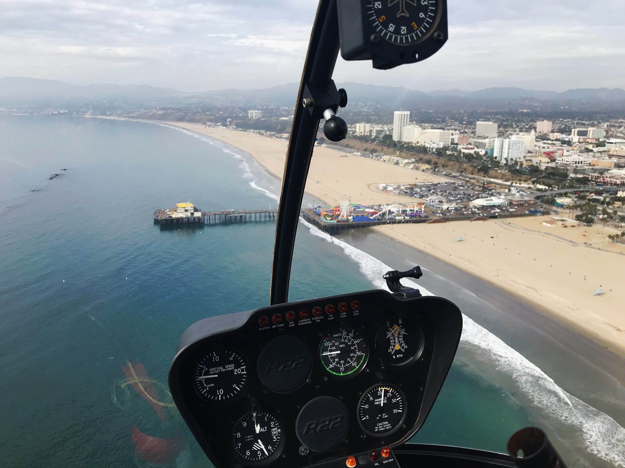 Santa Monica Pier view from helicopter