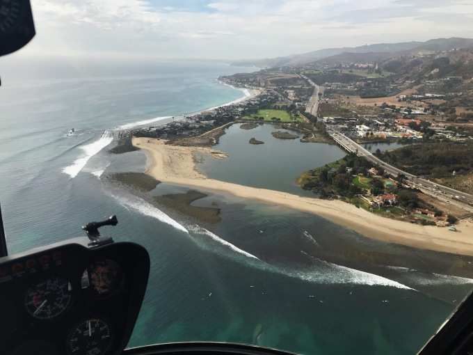 Malibu private beach view from helicopter