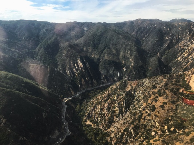 Malibu mountains helicopter view