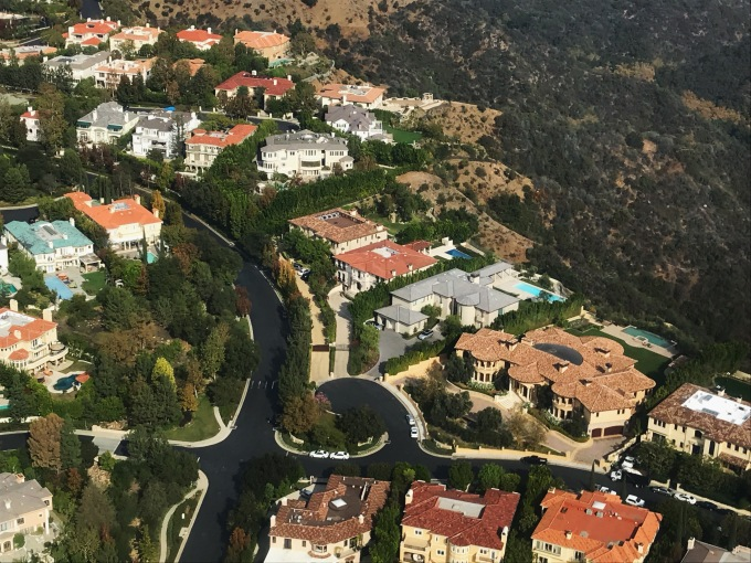 Kim Kardashian and Kanye West Bel Air house helicopter view 1