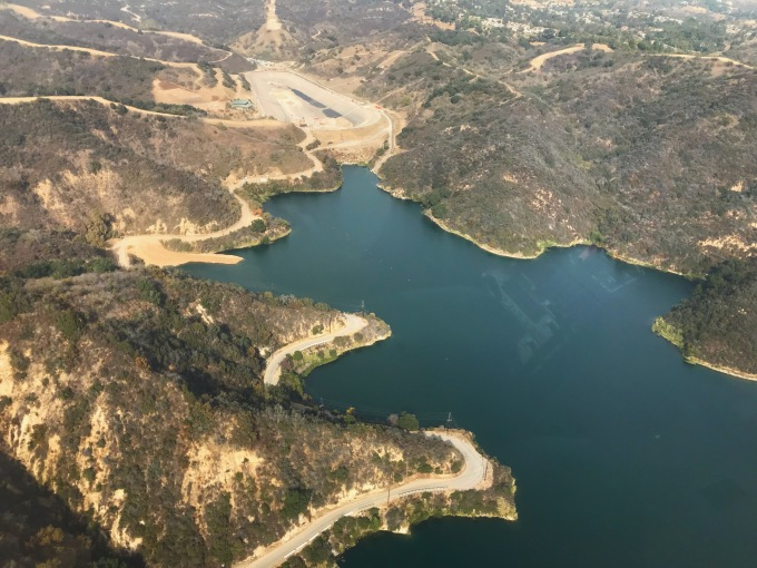 Stone Canyon Reservoir helicopter view